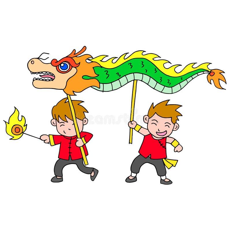 Chinese new year festival dragon dance. Vector art stock illustration