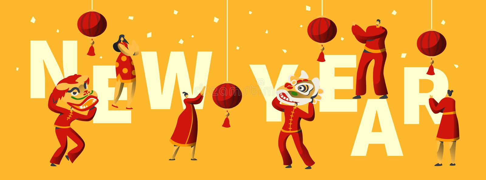 Chinese New Year Festival Typography Banner. Man Dance in Red Dragon Mask for China Holiday Celebration. Asian Festival stock illustration