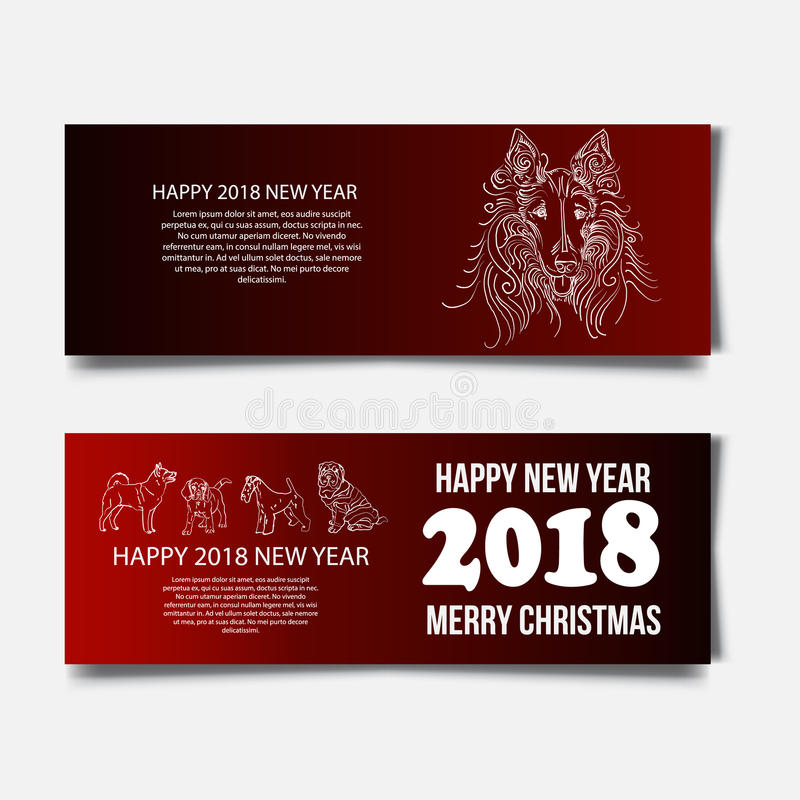 Chinese New Year 2018 festive vector card Design with cute dog, zodiac symbol of 2018 year Translation of text on stamp. Chinese New Year 2018 festive vector vector illustration