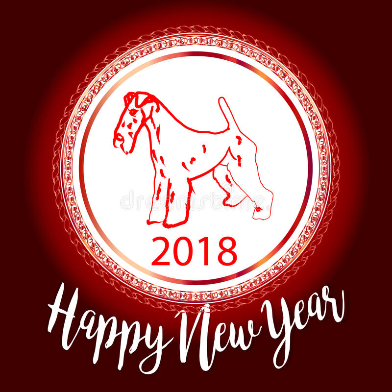 Chinese New Year 2018 festive vector card Design with cute dog, zodiac symbol of 2018 year Translation of text on stamp stock illustration