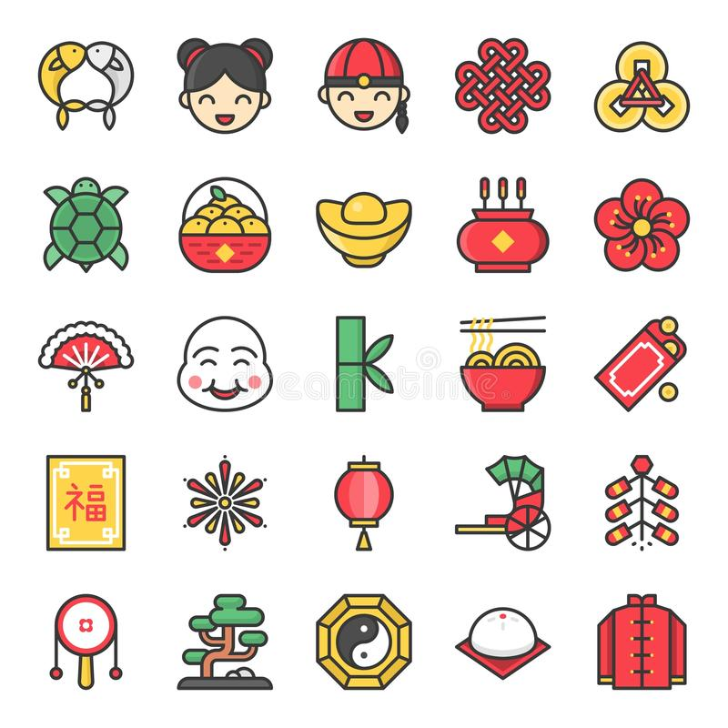 Chinese new year filled outline icon stock illustration