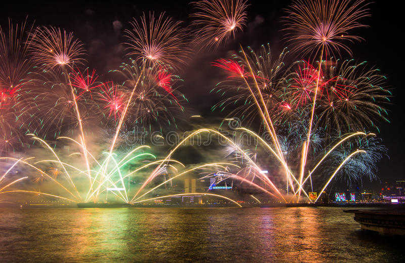 Chinese new year fireworks in Hong_Kong royalty free stock image