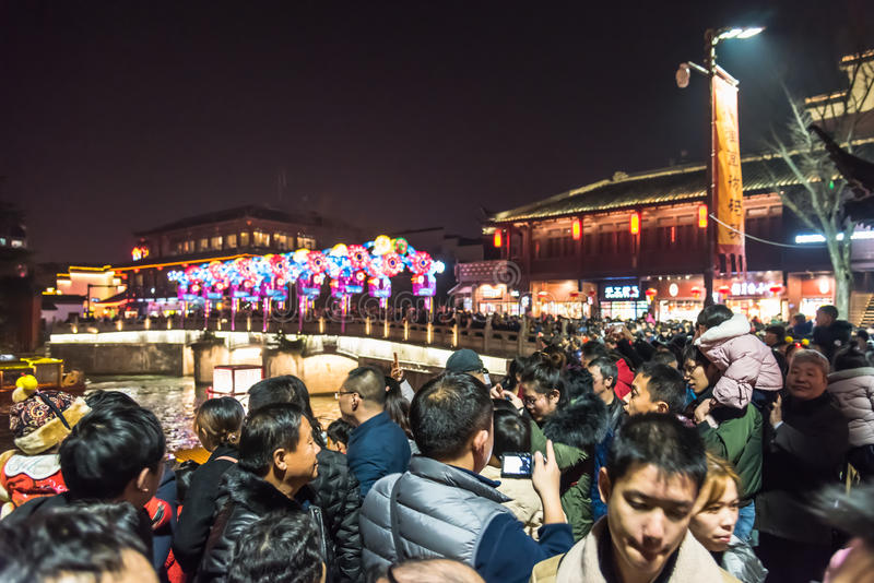 Chinese New Year first night in The Confucius Temple Scenic Area stock photos