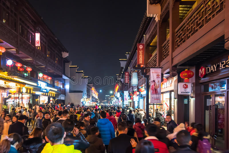 Chinese New Year first night in The Confucius Temple Scenic Area stock photo