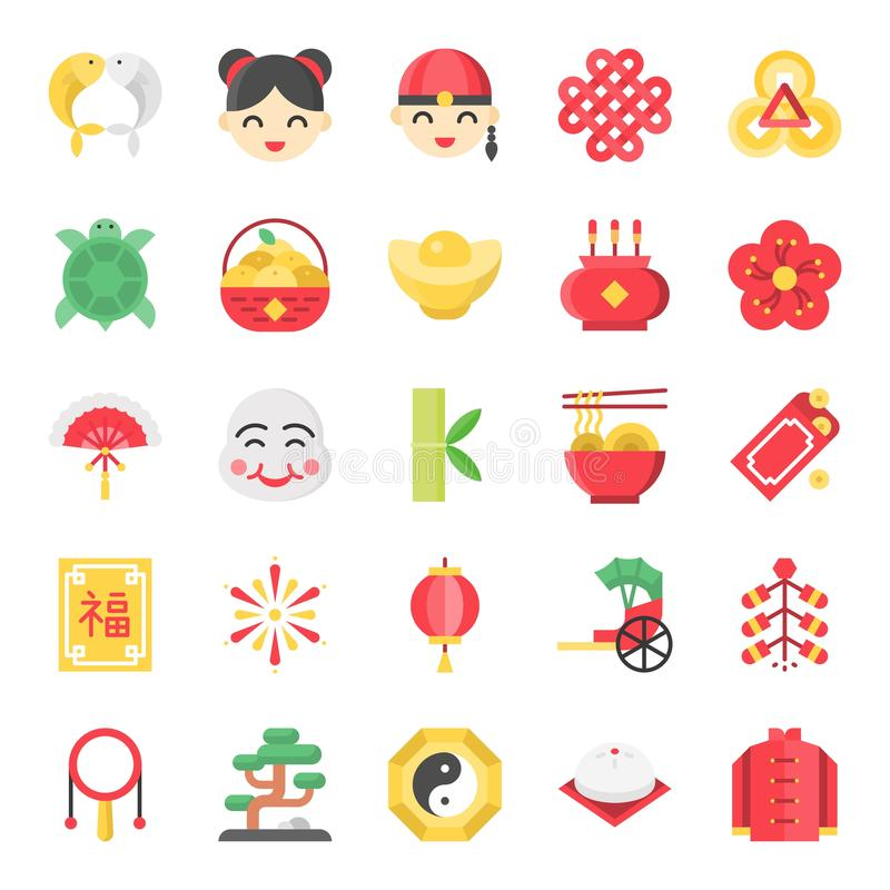 Chinese new year flat cute icon, 128 px on grid system set 2/2. Chinese new year flat cute vector icon, 128 px on grid system set 2/2 stock illustration