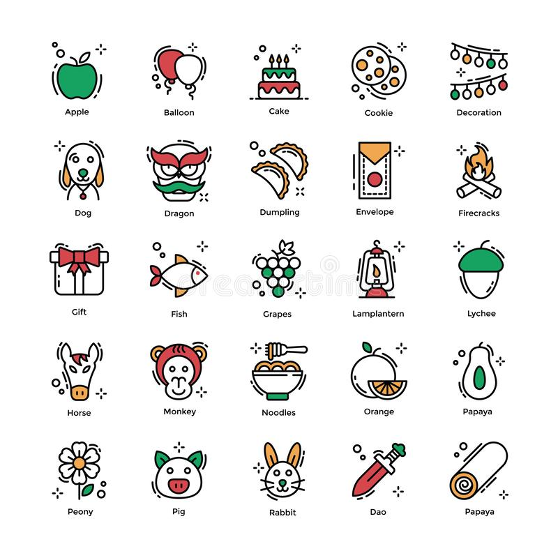Chinese New Year Flat Icons Pack royalty free illustration