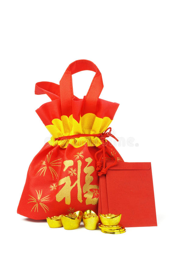 Chinese New Year Gift Bag And Ornaments Royalty Free Stock ...