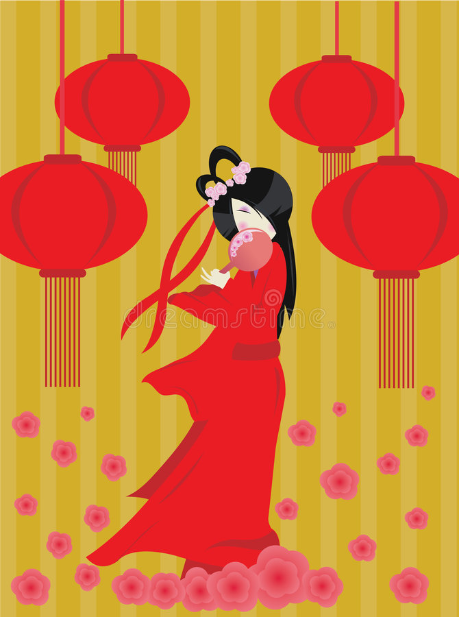 Download Chinese new year girl stock vector. Illustration of elegant - 7788739