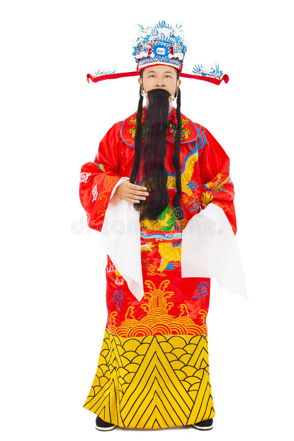 Chinese New Year! god of wealth share riches and prosperity. Isolated on white background stock photo
