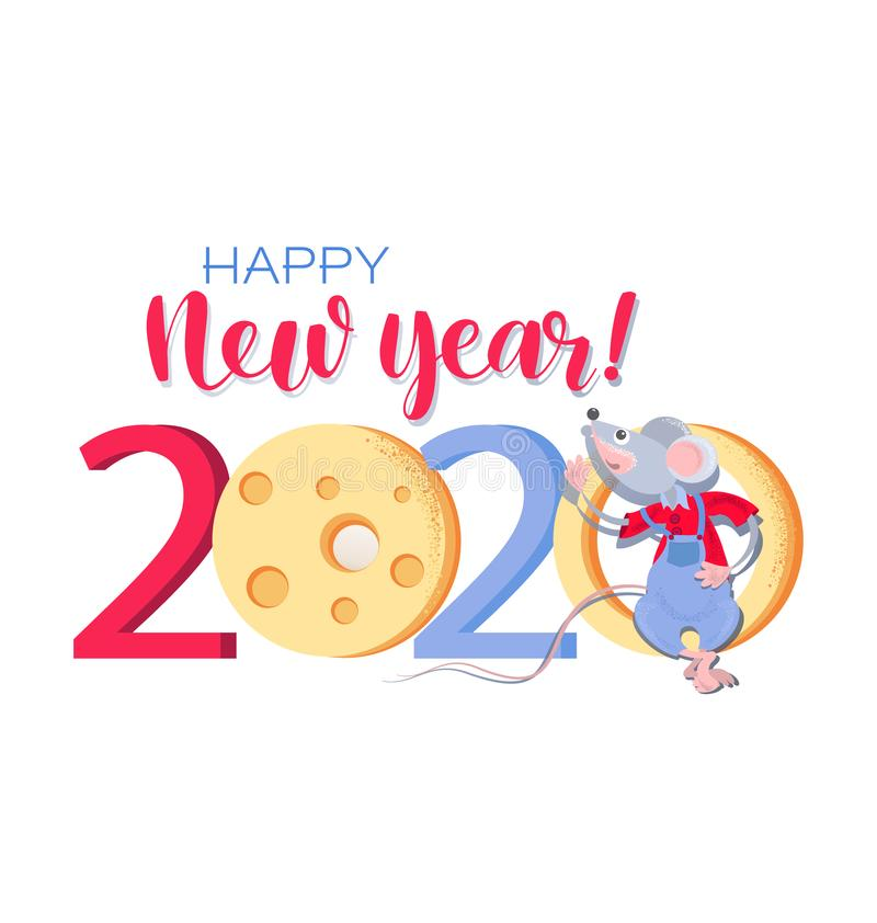 Chinese new year 2020. Greeting сard with Funny rat and cheese. stock illustration