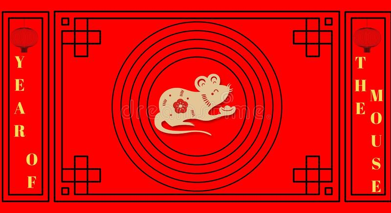 Chinese new year greeting card background, year of the mouse celebration. Lunar new year stock image