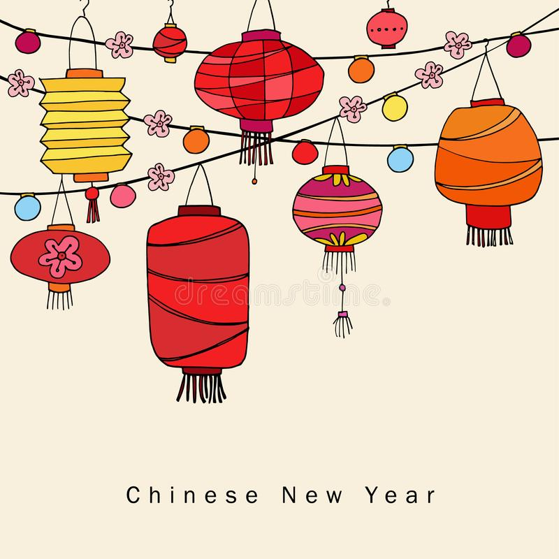 Chinese new year greeting card, invitation with string of hand drawn red lanterns. Asian party decoration. Vector royalty free illustration