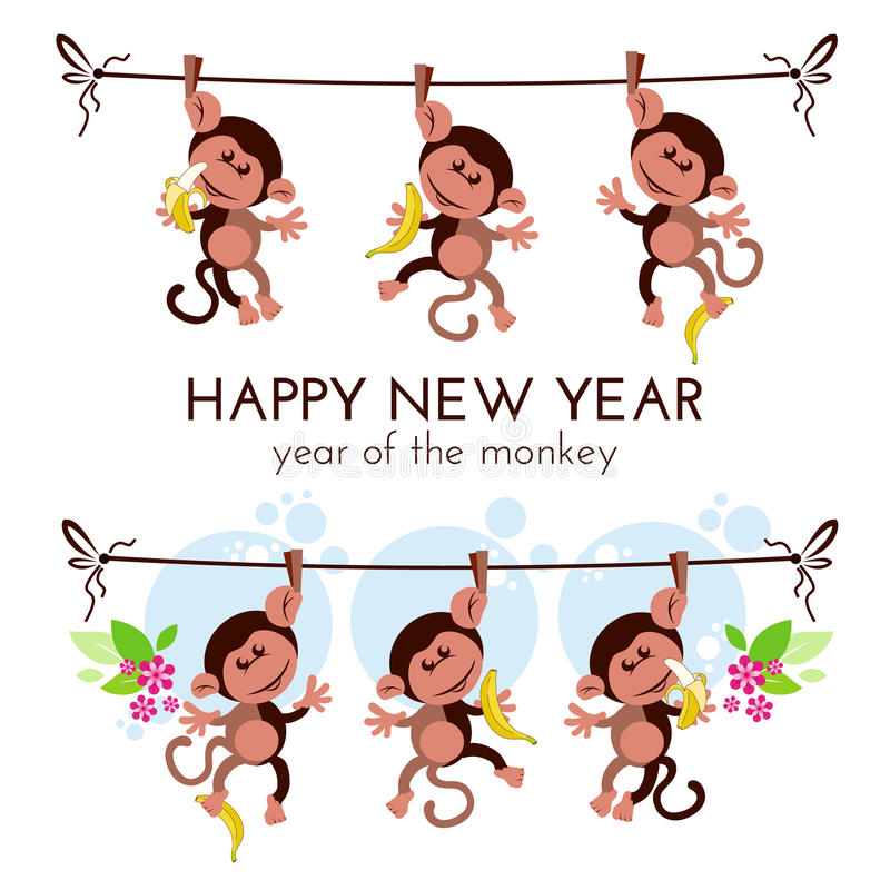 Chinese new year greeting card with monkeys on branch with bananas royalty free illustration