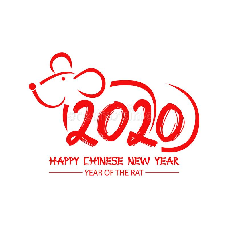 2020 Chinese New Year greeting card with numbers and rat. Greeting card vector illustration