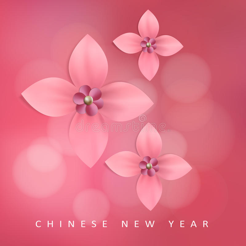 Chinese new year greeting card with pink paper flowers, stock illustration
