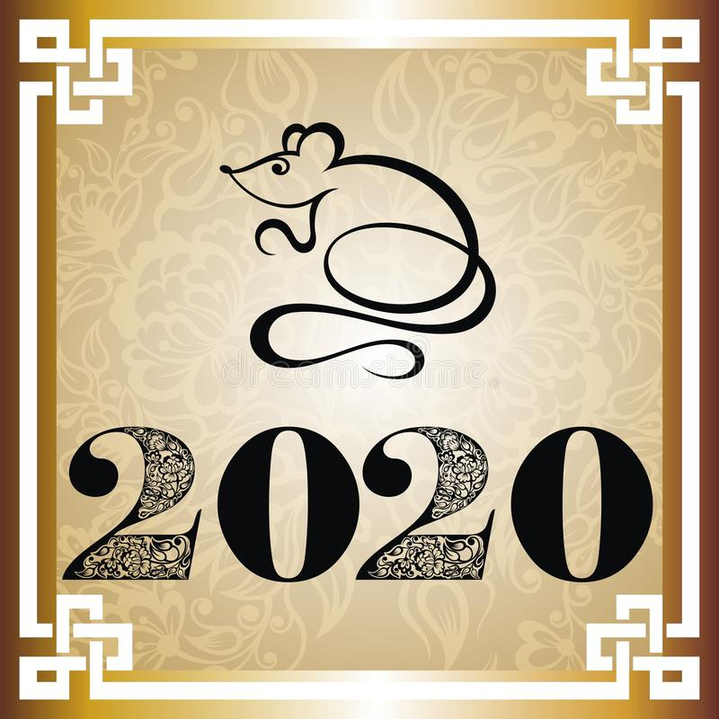 2020 Chinese New Year greeting card with rat silhouette royalty free stock image