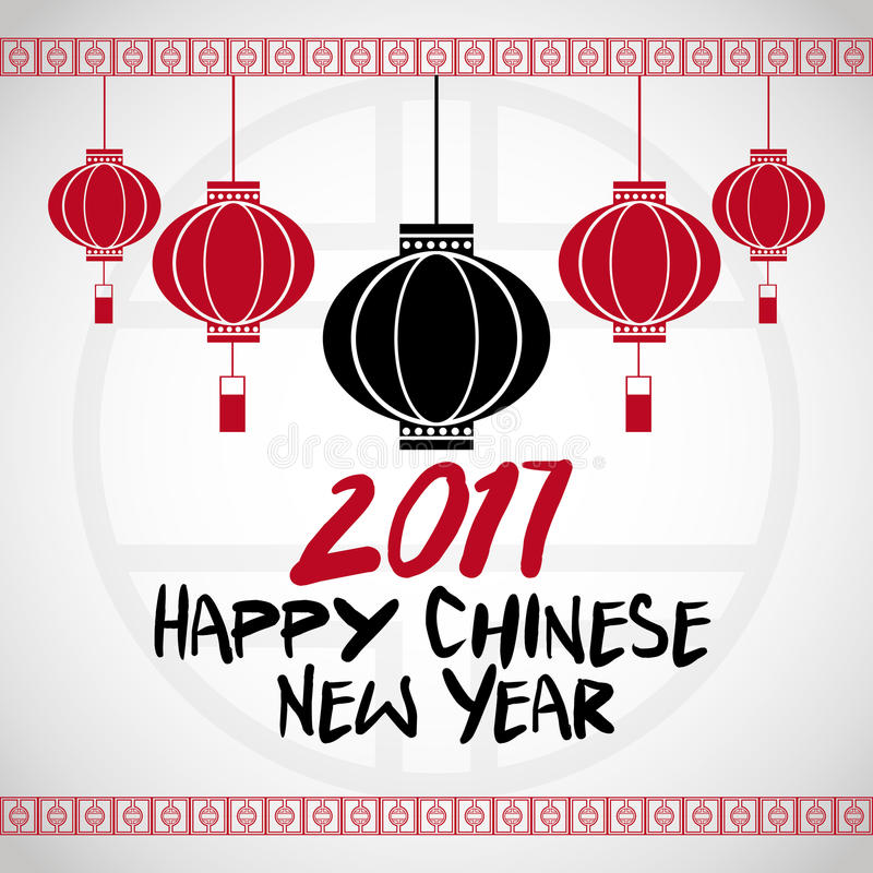 chinese new year 2017 hanging lantern greeting vector illustration