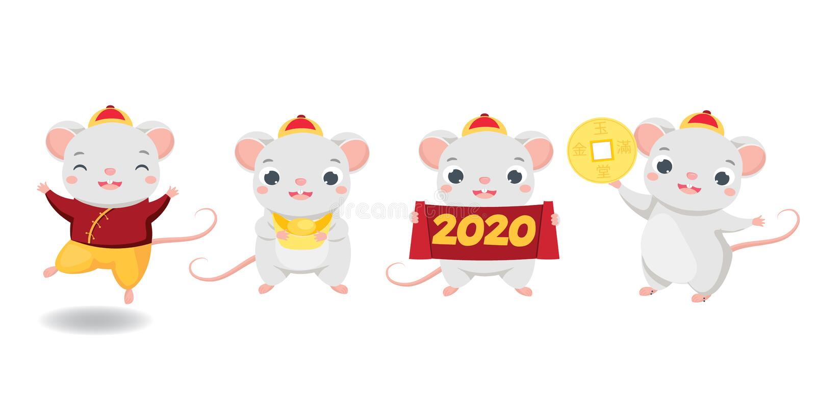 Chinese new year. 2020 happy cartoon mouse collection. illustration for calendars and cards. Funny rats with yuanbao, coin and vector illustration
