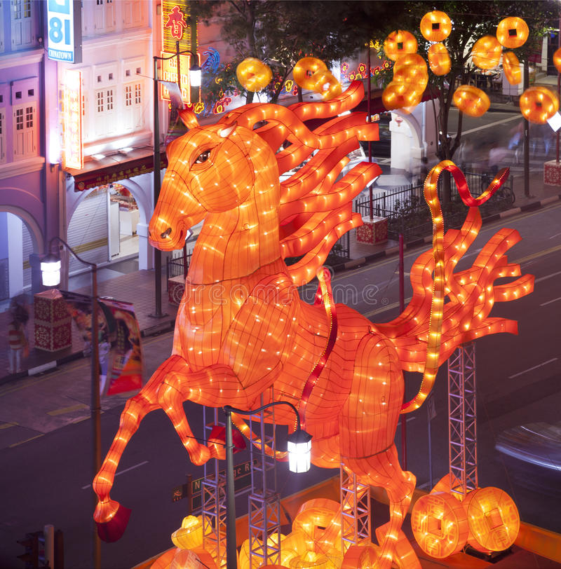 Chinese New Year. With horse-themed decorations in Singapore royalty free stock photo