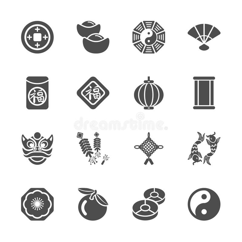 Chinese new year icon set, stock illustration