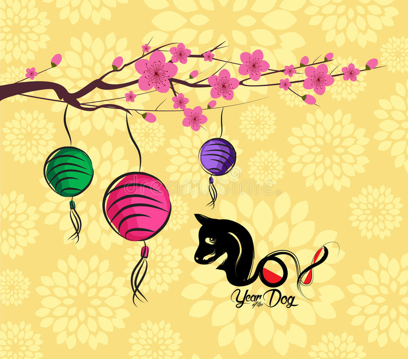 chinese new year 2018 lantern and blossom background year of the