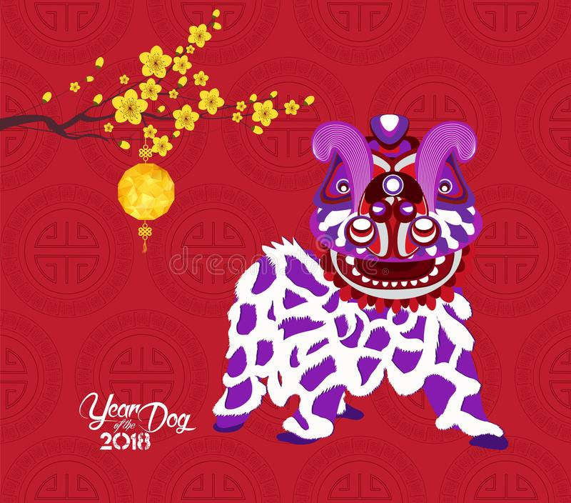 Chinese new year 2018 lantern, blossom and lion dance. Year of the dog vector illustration