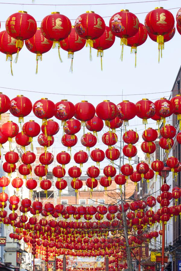 Chinese New Year lantern decoration of the street royalty free stock photo