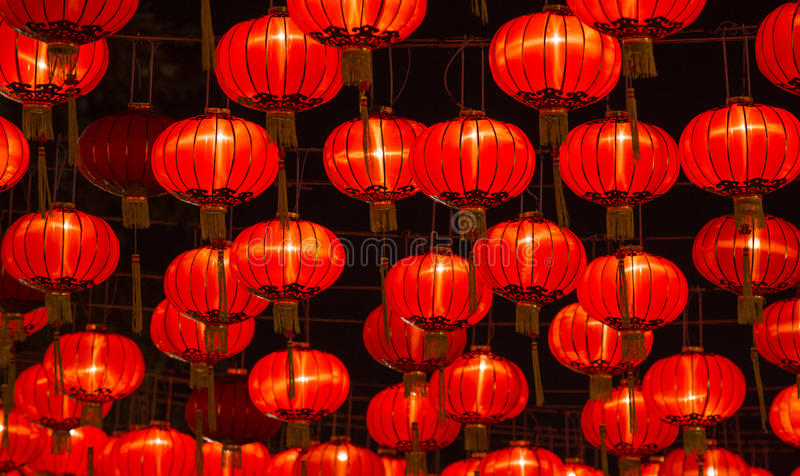 Chinese New Year Lanterns. At night scene