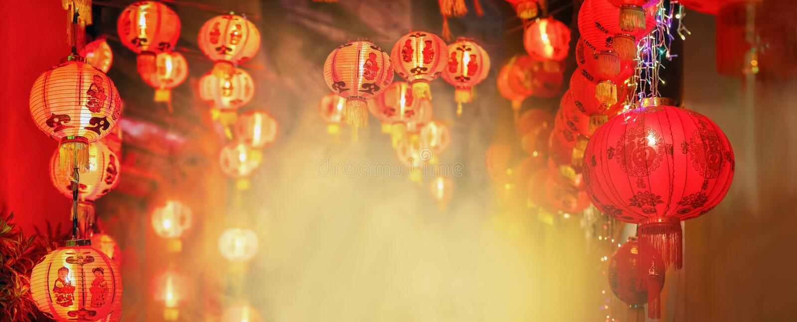 Chinese new year lanterns in chinatown.Text mean happiness. And good health royalty free stock images