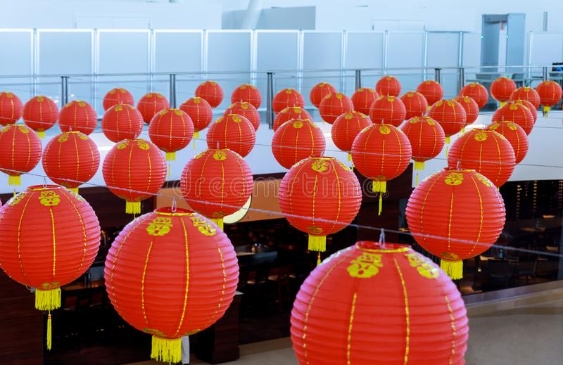 Chinese lanterns hanging to be bought for Chinese New Year stock photos