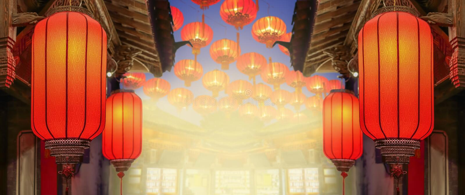 Chinese new year lanterns in old town area , China. Chinese new year lanterns in old town area , yunnan China stock photography
