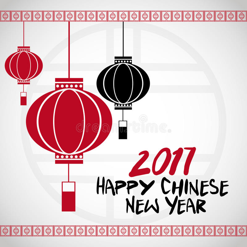 chinese new year 2017 lanterns white bakcground vector illustration
