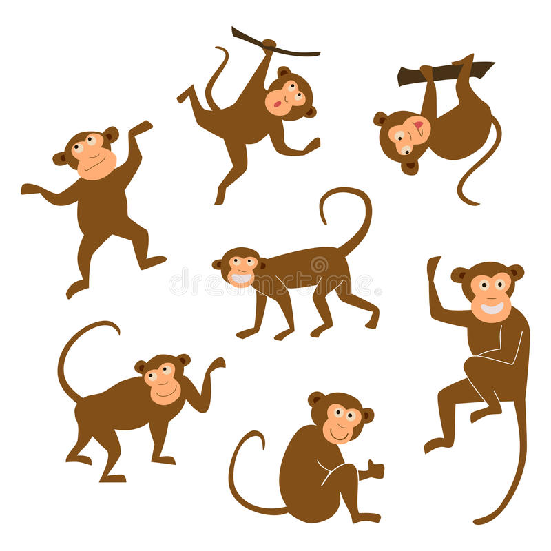 Chinese New Year 2016 monkeys decoration icon. Monkey in east style. Happy ape collection. Vector illustration. Brown stock illustration