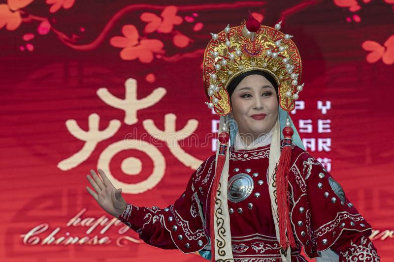 Chinese New Year 2019 - Opera. Chinese opera show and stage performance by Art group from Henan Province China in the city hall premise celebrating the Chinese royalty free stock photo