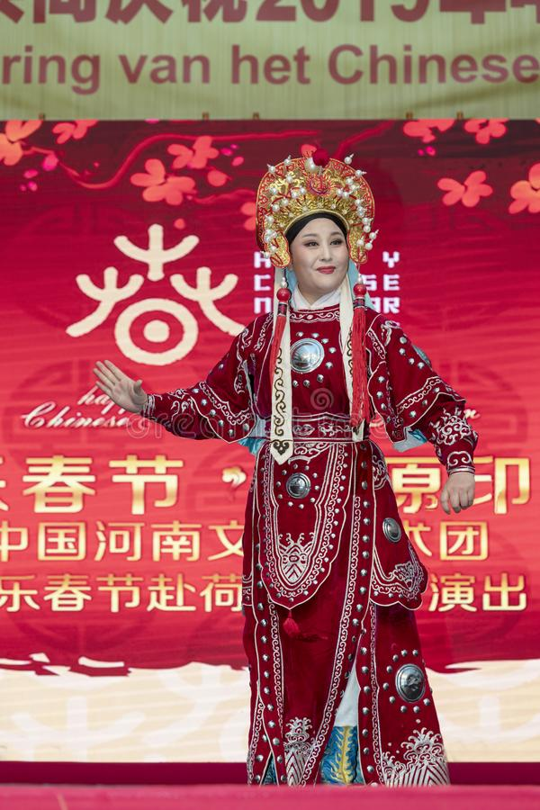 Chinese New Year 2019 - Opera. Chinese opera show and stage performance by Art group from Henan Province China in the city hall premise celebrating the Chinese stock photos