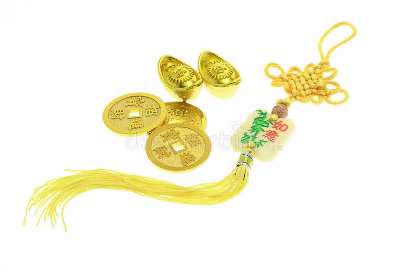 Download Chinese New Year Ornament, Gold Coins And Ingots Stock Image - Image: 4112063