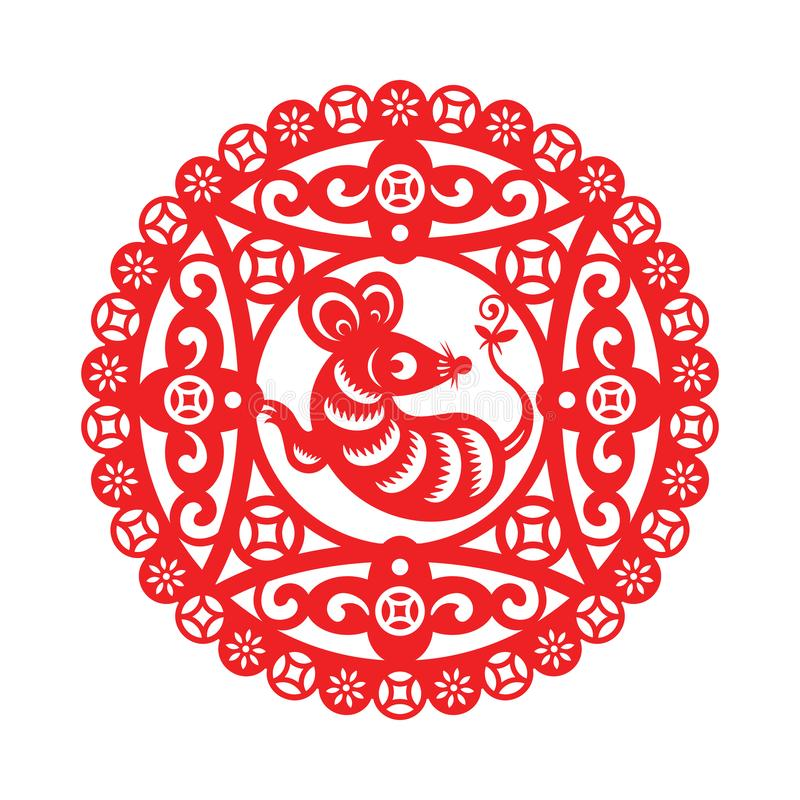 Chinese New Year ornament with Mouse stock illustration