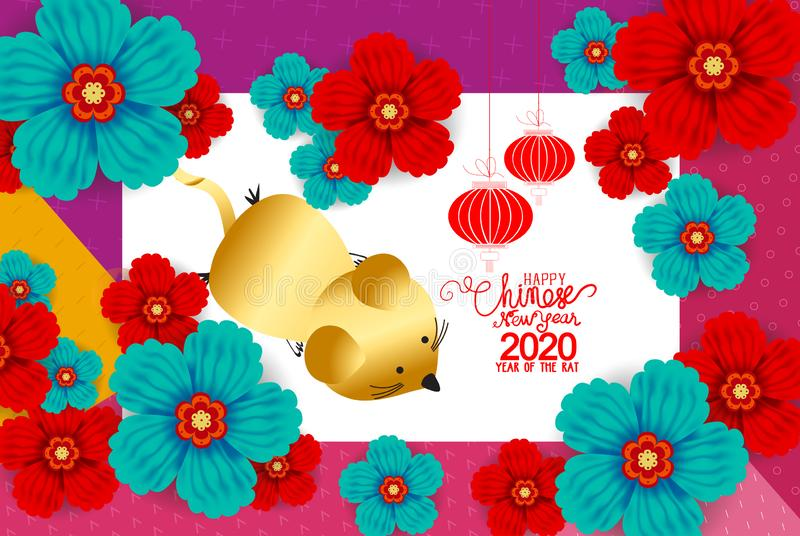 2020 Chinese New Year Paper Cutting Year of Rat Vector Design for your greetings card, flyers, invitation, posters, brochure, vector illustration
