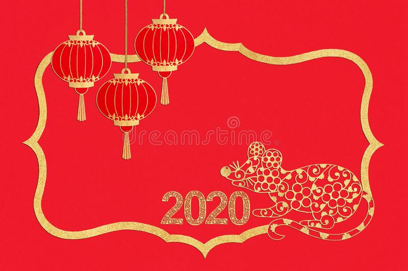 Chinese New Year. Paper frame with rat, lanterns and numbers 2020 royalty free stock photos