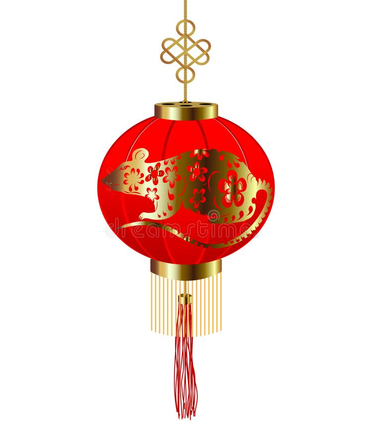 2020 Chinese New Year. Paper Red round Chinese lantern with a rat pattern. Isolated illustration stock illustration