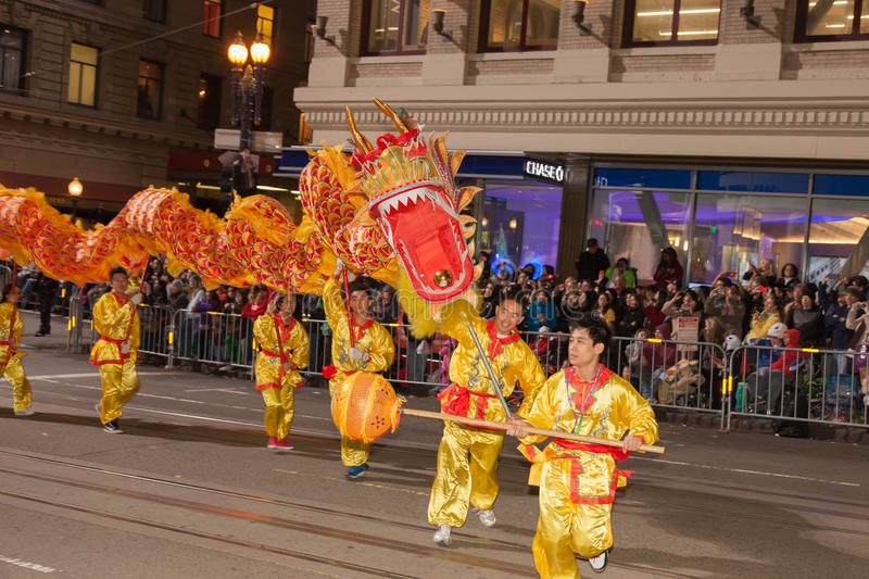 Chinese New Year Parade in Chinatown. SAN FRANCISCO - FEBRUARY 23: Chinese New Year Parade in Chinatown on February 23, 2013 in San Francisco, California. Over stock image