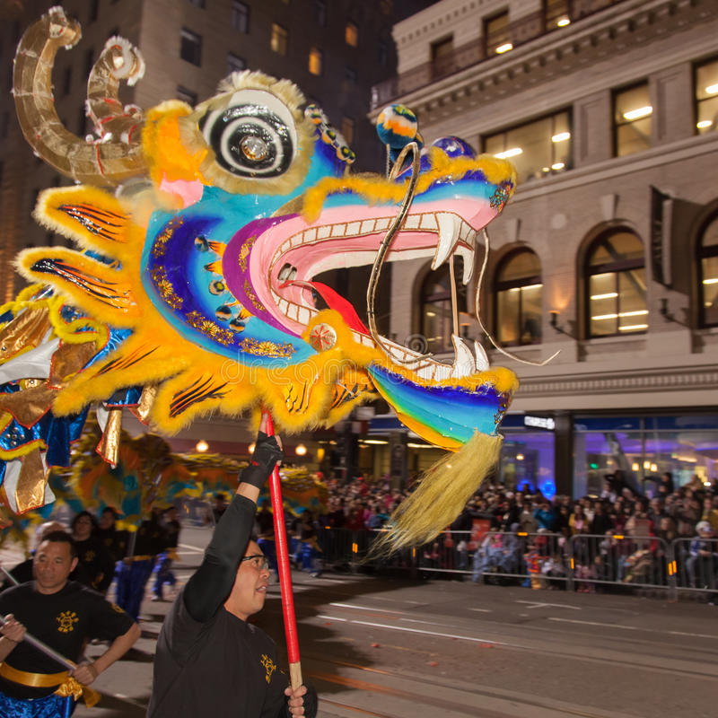 Chinese New Year Parade in Chinatown. SAN FRANCISCO - FEBRUARY 23: Chinese New Year Parade in Chinatown on February 23, 2013 in San Francisco, California. Over royalty free stock photo