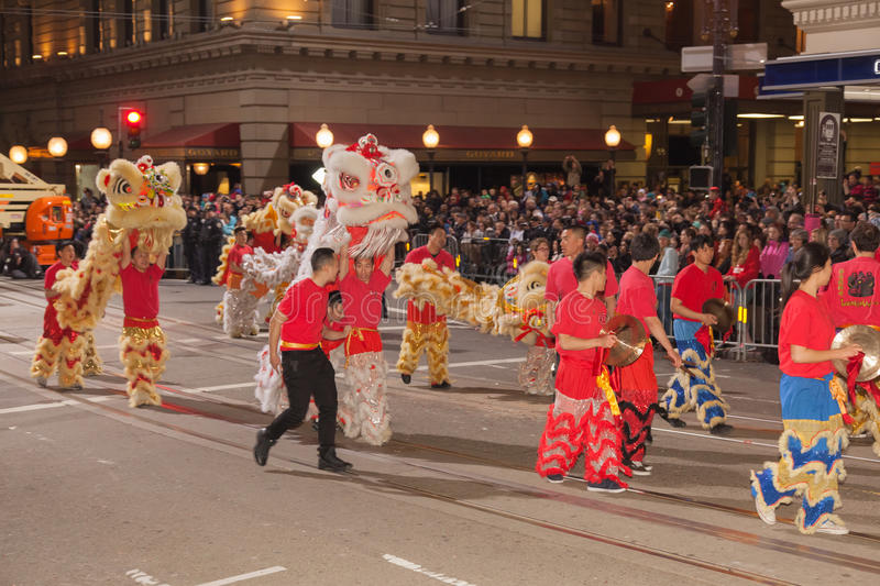 Chinese New Year Parade in Chinatown. SAN FRANCISCO - FEBRUARY 23: Chinese New Year Parade in Chinatown on February 23, 2013 in San Francisco, California. Over stock photo