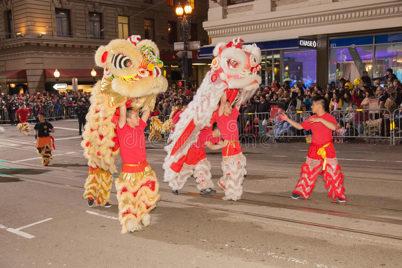 Chinese New Year Parade in Chinatown. SAN FRANCISCO - FEBRUARY 23: Chinese New Year Parade in Chinatown on February 23, 2013 in San Francisco, California. Over royalty free stock photos