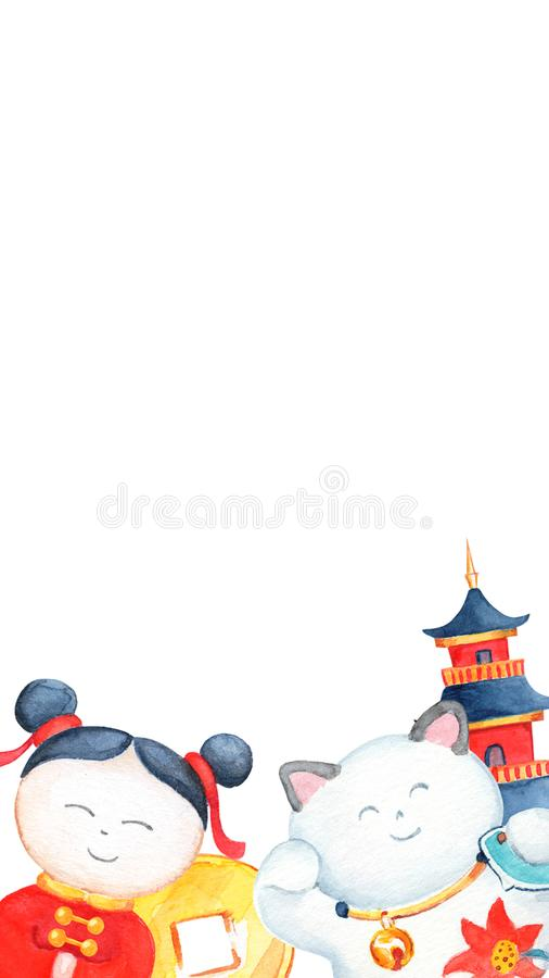 Chinese New Year party snapchat geofilter. Oriental traditional festival filter. royalty free illustration