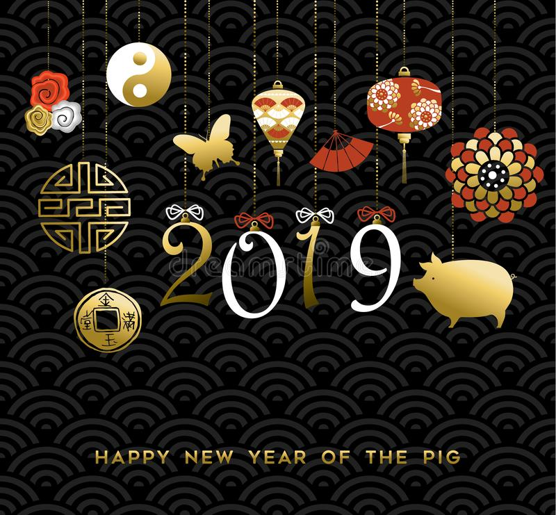 2019 Chinese New Year of the Pig gold icon card. Chinese New Year of the Pig greeting card with 2019 holiday date sign in hand drawn typography and gold asian stock illustration
