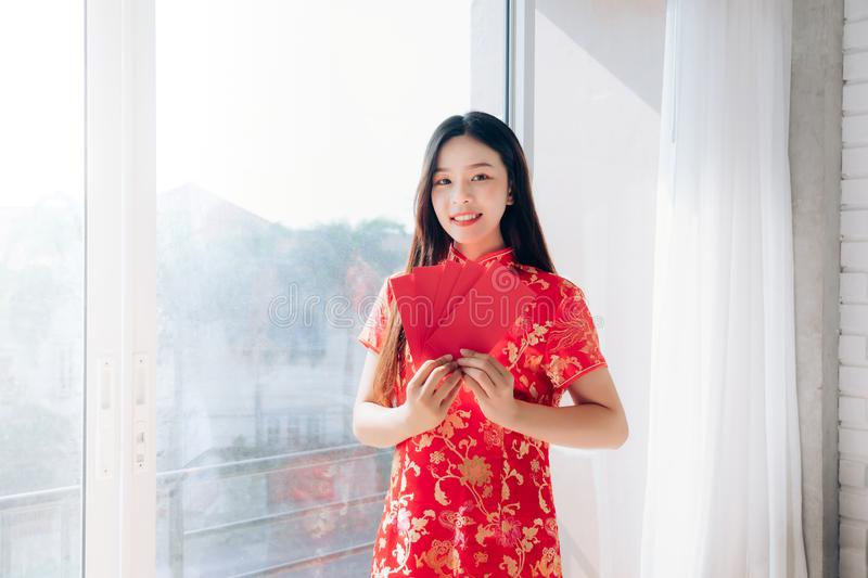 Chinese New Year of Portrait Beauty Asian Woman with Chinese dress royalty free stock photo