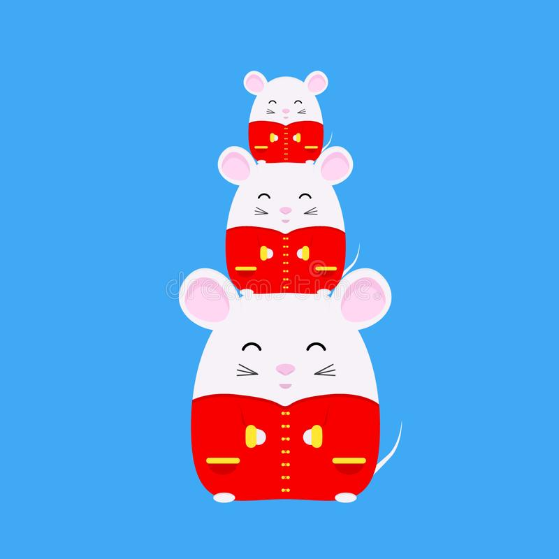 Chinese New Year 2020. Year of rat. Cute white rat in traditional chinese costume. Zodiac symbol of the year 2020. Vector stock illustration