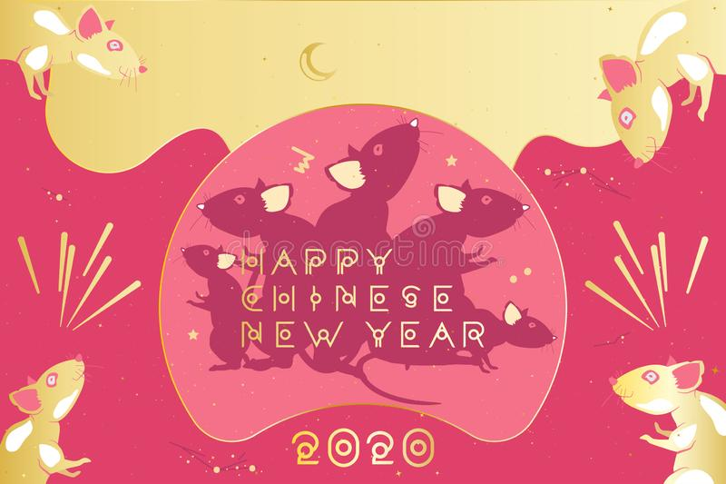 Chinese new year 2020 year of the rat. Greeting card with family rats and golden moon on a pink background. Original typeface in vector illustration