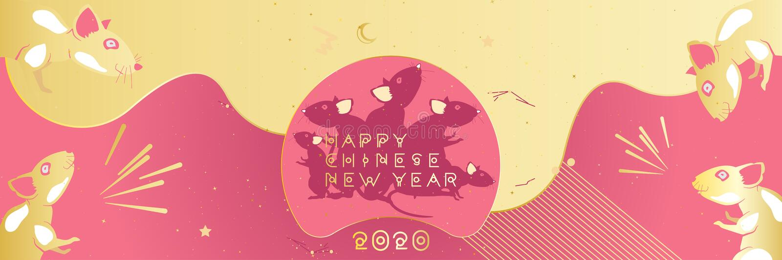 Chinese new year 2020 year of the rat. Greeting card with family rats and golden moon on a pink background. Original typeface in royalty free illustration